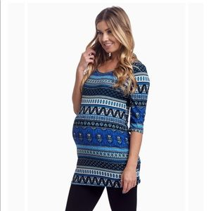 Pinkblush Tops - Pinkblush Blue Moroccan Print Fitted Maternity Top